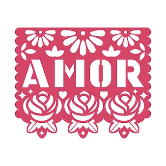 ペーパーグリーティングカードと花とテキストを切り抜いたアモール。
