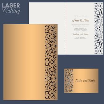 Бумажная открытка с кружевной каймой. свадебные приглашения или открытки шаблон. подходит для лазерной или высечки.