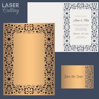 Бумажная открытка с кружевной каймой. шаблон свадебного приглашения. подходит для лазерной или высечки.