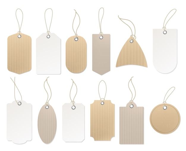Paper hanging labels.
