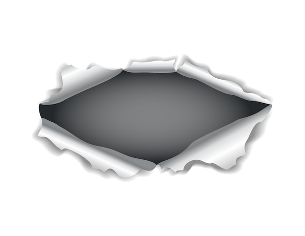 Paper hole. realistic  torn paper with ripped edges. torn hole in the sheet of paper on a dark background.  illustration
