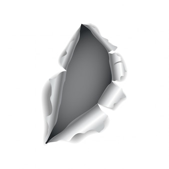 Paper hole. realistic vector torn paper with ripped edges. torn hole in the sheet of paper. vector illustration