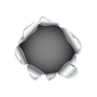 Paper hole. realistic vector torn paper with ripped edges. torn hole in the sheet of paper