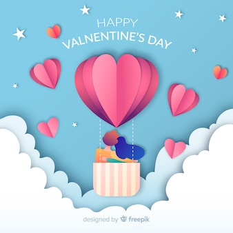 Paper hot-air balloon valentine's day background