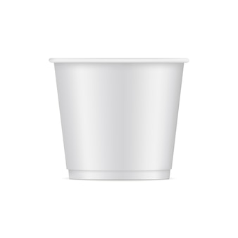 Paper ice cream cup mockup isolated on white.