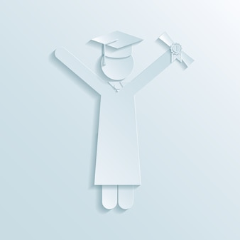 Paper icon of graduate in graduation gown and mortarboard hat holding diploma in the air while celebrating graduation at the end of college studies