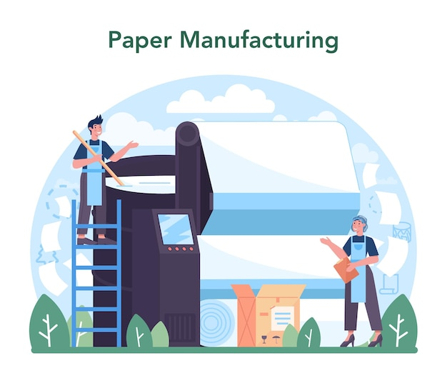 Paper industry wood processing and paper production factory