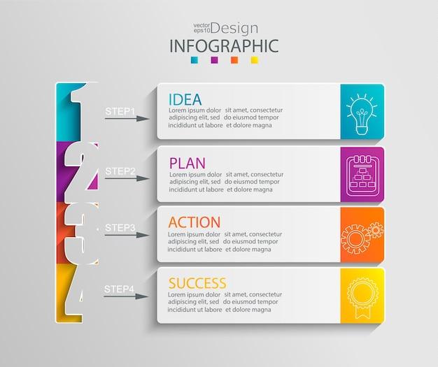 Бумажный инфографический шаблон с 4 вариантами презентации и визуализации данных. схема бизнес-процессов. схема с четырьмя шагами к успеху. для содержания, блок-схемы, рабочего процесса. векторная иллюстрация.