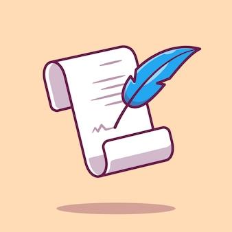 羊皮紙と羽ペンのイラスト。 paper.isolatedに書く羽ペン