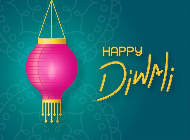 Paper lantern with fire hangs on the background green rangoli. concept banner happy diwali with lettering and holiday lantern