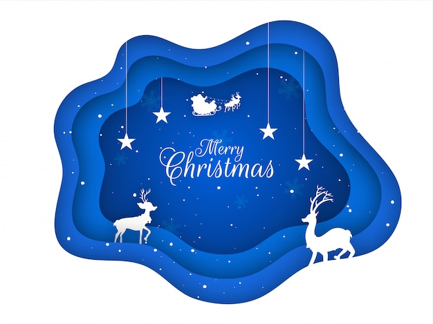 Paper layer cut greeting card  decorated with hanging stars, silhouette reindeer and santa riding on sleigh for merry christmas celebration .
