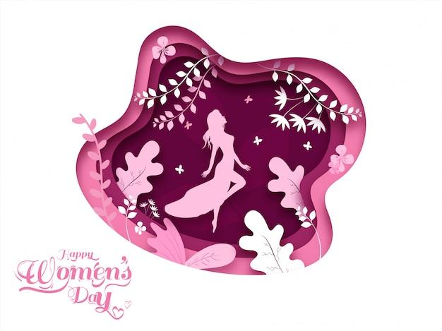 幸せな女性の日の概念のための花とシルエットの女性で飾られた紙レイヤーカットポスターデザイン。