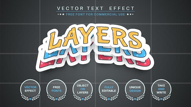 紙のレイヤーは、テキスト効果の編集可能なフォントスタイルを編集します