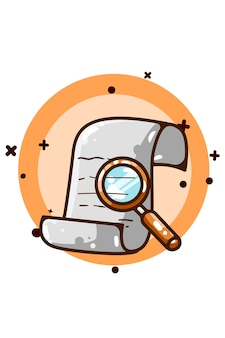 A paper and a magnifying glass illustration