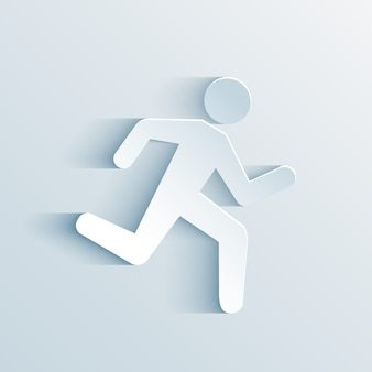 Paper man running sign vector illustration