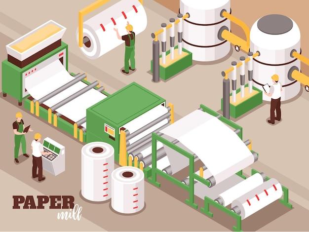Производство бумаги автоматизированный процесс, управляемый оператором, изометрическая иллюстрация