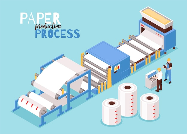 Paper manufacturing isometric illustration