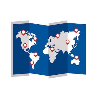 Путеводитель на бумажной карте с отметками местоположений