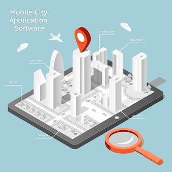Paper mobile city navigation application software. route internet gps, road and travel city.