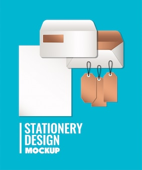 Paper and mockup set on blue background of corporate identity and stationery design theme vector illustration