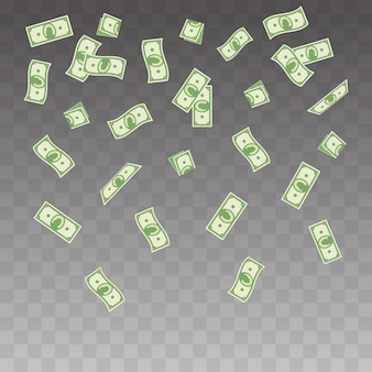 Paper money falling on a transparent background