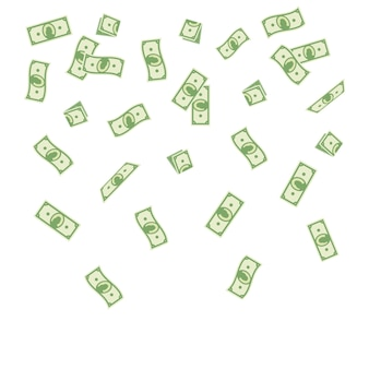 Paper money falling on a white background