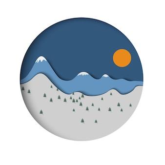 トウヒと太陽と紙の山の風景