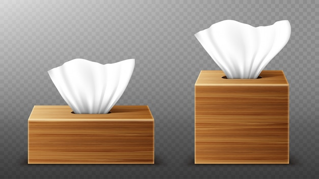Paper napkin in wooden boxes mockup, open blank packages with tissue pull wipes. hygiene accessories, brown wood packages isolated on transparent background, realistic 3d illustration, mock up
