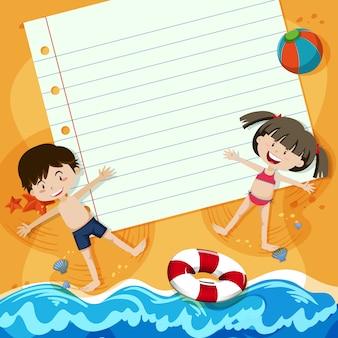 Бумажная записка и дети на пляже