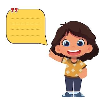 かわいい子供たちのキャラクターと紙のメモテンプレート