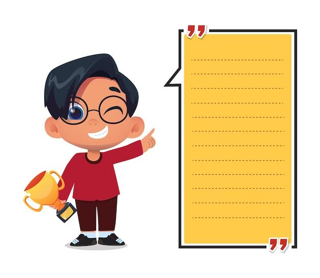 トロフィーを保持している子供たちのキャラクターと紙のメモテンプレート
