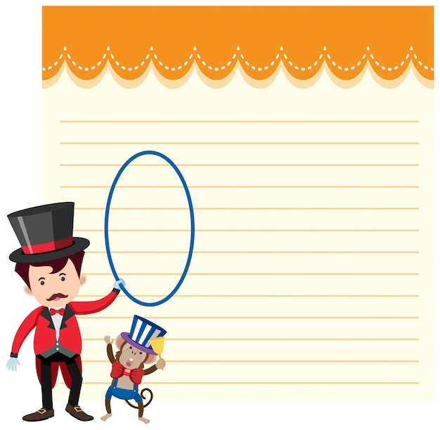 A paper note with circus theme