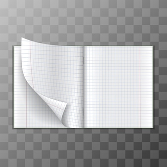 Paper notebook  for mathematics for notes. illustration on transparent background.