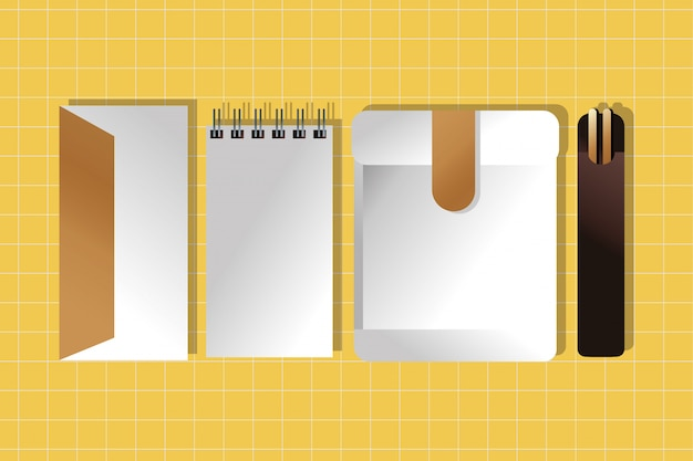 Paper notebook with envelope and chopstick gradient style
