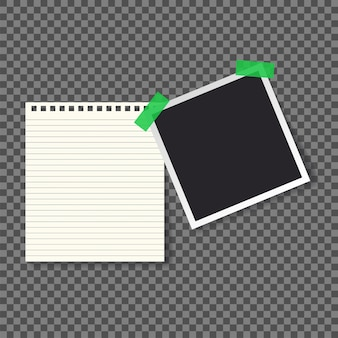 Paper notepad and photo frame vector illustration
