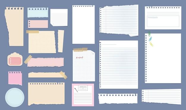 Бумажные заметки. тетрадь линейных страниц списков тетрадей разного размера с разделенными заметками.