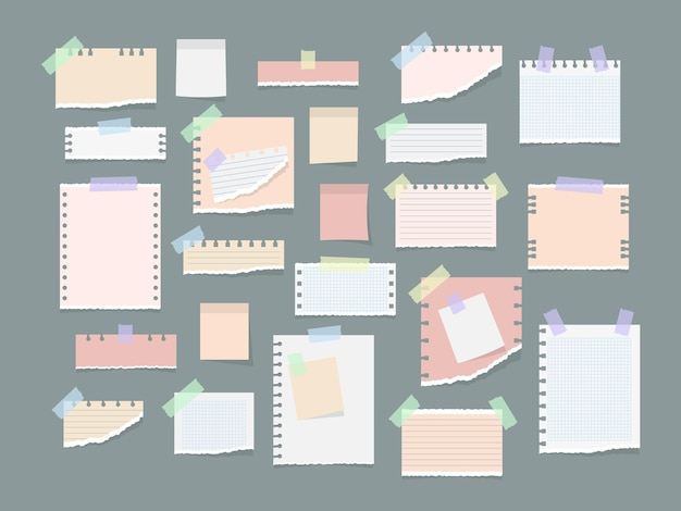 ステッカー、メモ帳、メモメッセージのイラストの紙のメモ