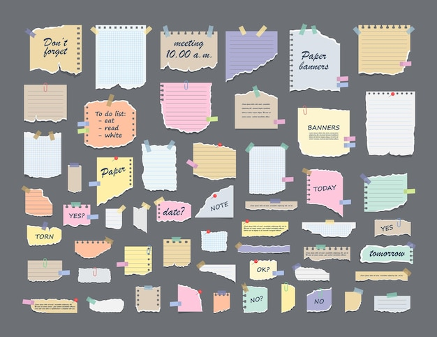 Paper notes on stickers. sticky note paper posts of meeting reminder.