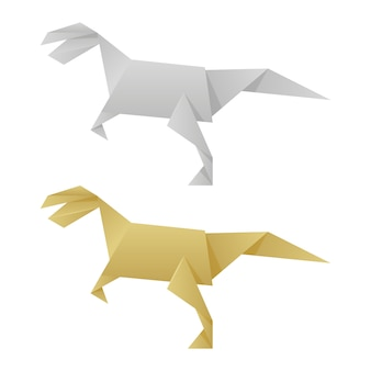 Paper origami dinosaurs isolated on white
