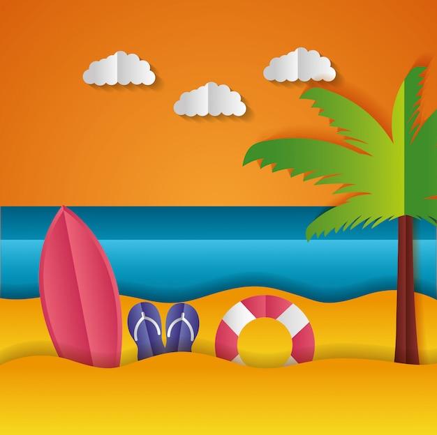 Paper origami landscape of a beach
