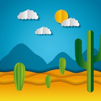 Paper origami landscape of a desert