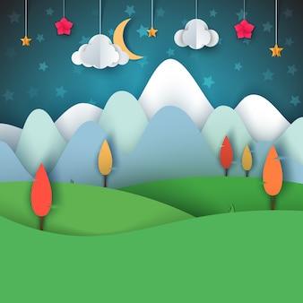 紙の折り紙の風景。山、クマ、動物、太陽、雲、丘、星。