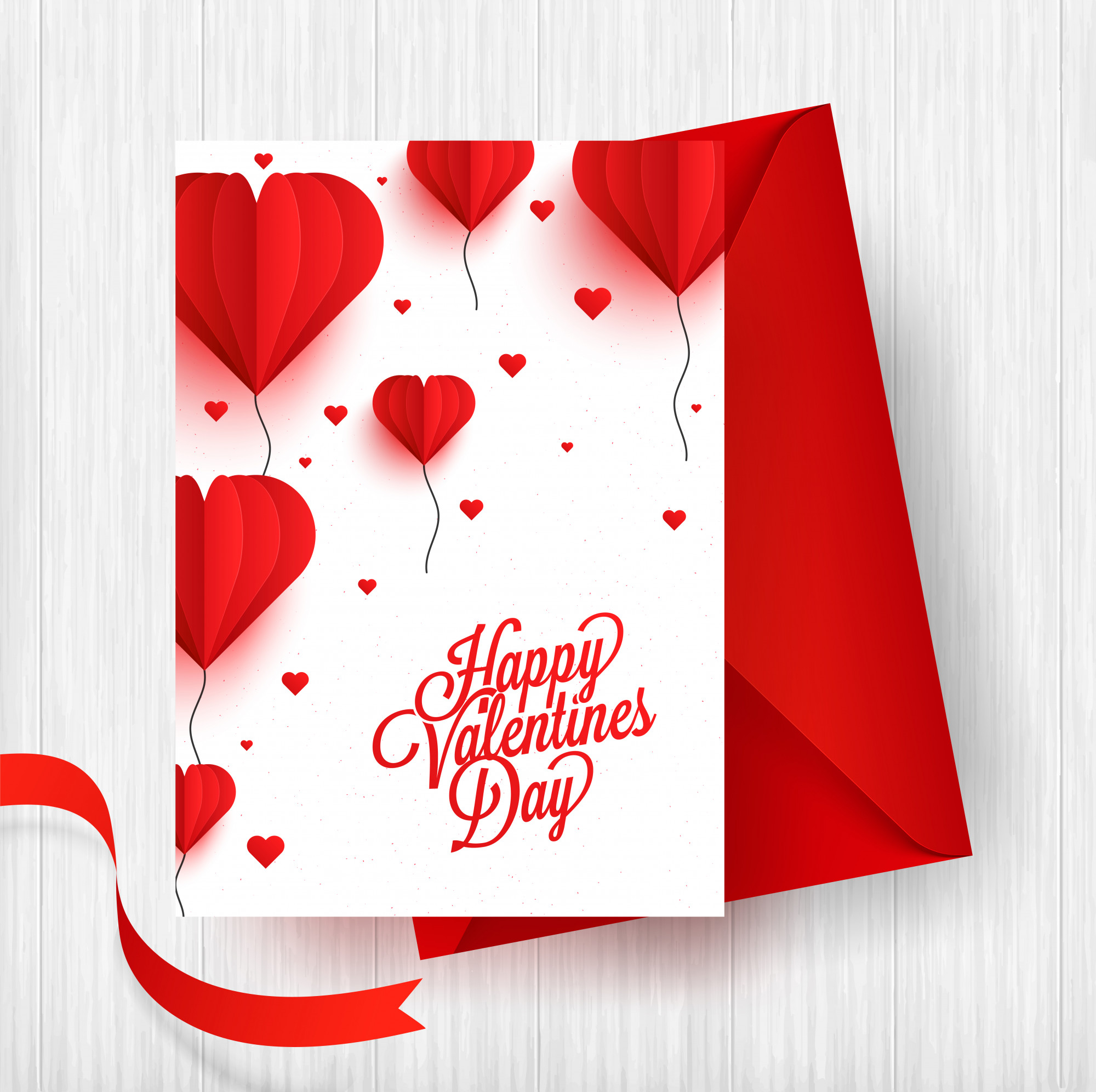 Paper origami of heart shape balloons on white background
