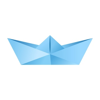 Paper origami shape - boat. the japanese art of folding paper figures is a hobby, needlework.