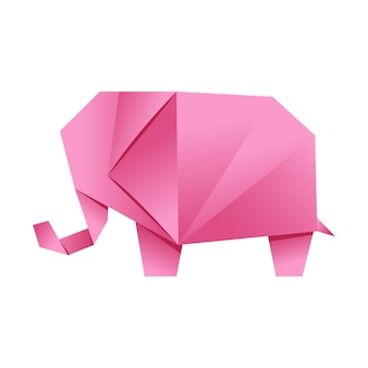 Paper origami shape elephant pink the japanese art of folding paper figures is a hobby needlework