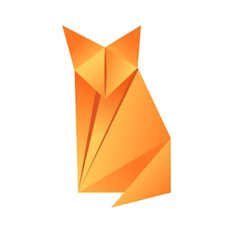 Paper origami shape - fox. the japanese art of folding paper figures is a hobby, needlework.