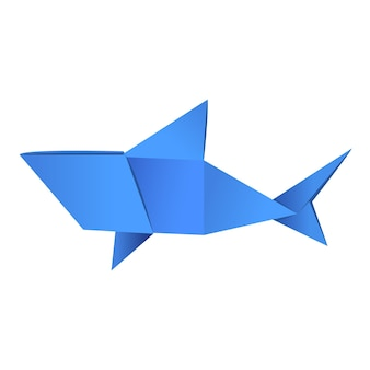 Paper origami shape - shark. the japanese art of folding paper figures is a hobby, needlework.
