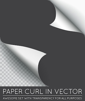 Paper page curl with shadow isolated.