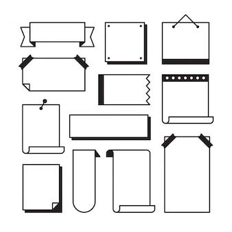 Бумага страницы каракули набор в стиле эскиза линии искусства - кусочки пустых листов записной книжки с клейкой лентой и другие канцелярские принадлежности, изолированные на белом, иллюстрации