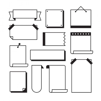 Paper page doodle set in line art sketch style - pieces of blank note book sheets with sticky tape and other stationery isolated on white ,  illustration